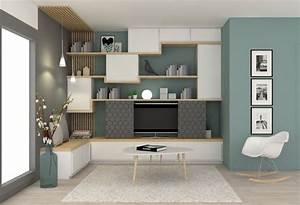 Dco Salon Mur De Meubles Pour Le Salon Blanc Et Bois