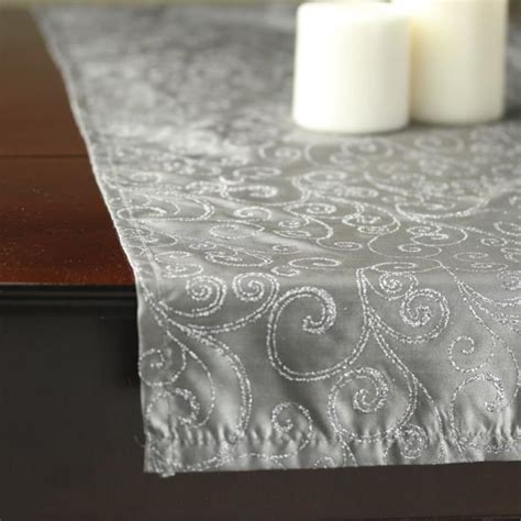 silver glitter table runner silver glitter swirls satin table runner tableware