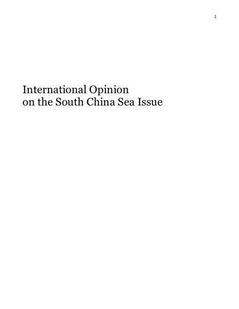 International opinion on the South China Sea issue