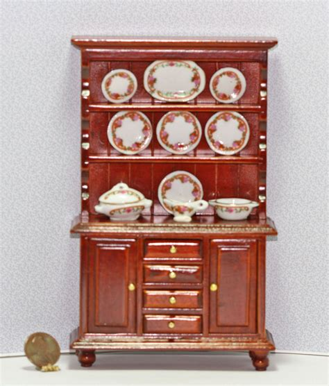 Cherry Wood Buffet Filled With Dresden Rose China