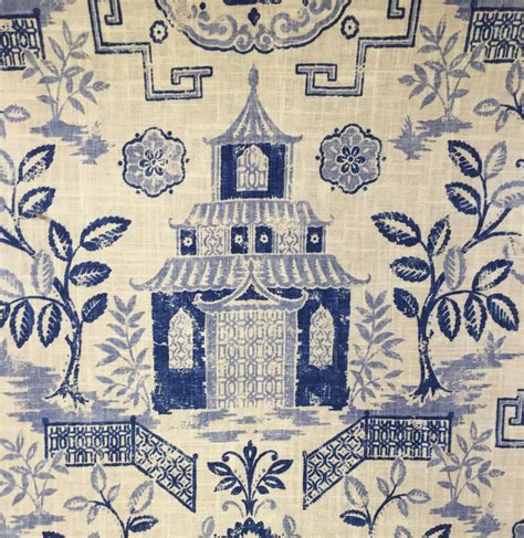 floral quilt bedding teahouse blue pagoda fabric fabric upholstery