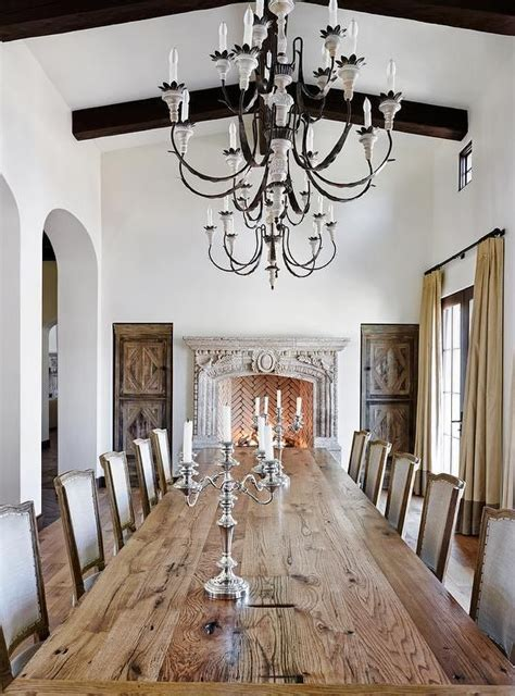 french dining room features  long plank dining table