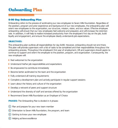 sample onboarding plan templates   ms word