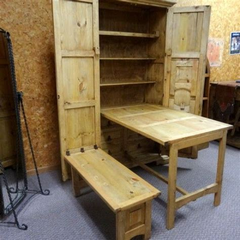 space saving armoire  table  benches fold