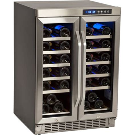 wine cooler dual zone door refrigerator built french fridge 36 bottle glass edgestar mini undercounter refrigerators coolers stainless steel cabinet