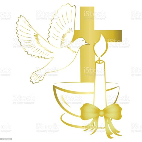 Gold Design For Sacrament Of Baptism Invitation Card Stock