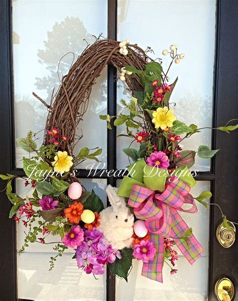 oval spring easter grapevine wreath  bunny spring