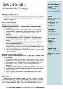 Administration Manager Resume Samples