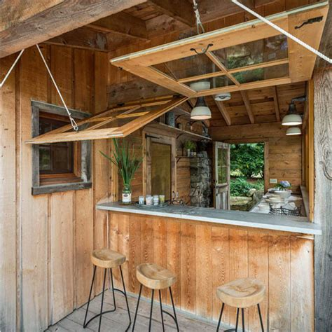 waterfront cabin home bar design hinges  view