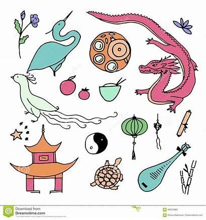 China Chinese Gezeichnete Kultur Chinesische Symbole Ikonen