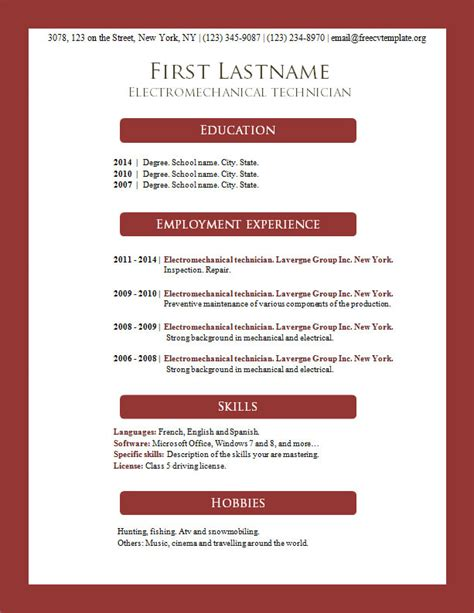 free resume templates word 2014 free cv templates 156 to 162 free cv template dot org