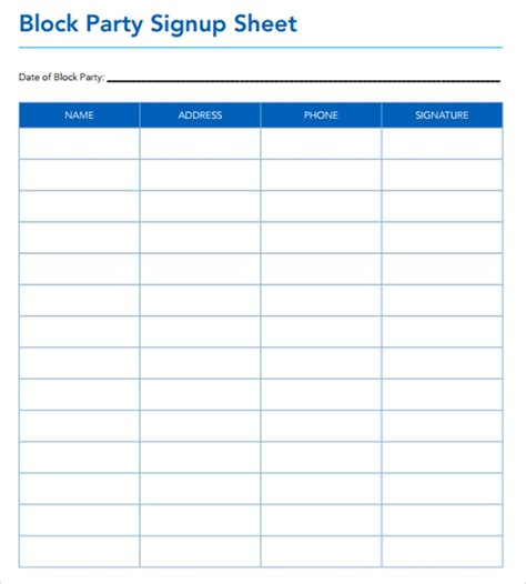 sample sign  sheet templates pdfword pages