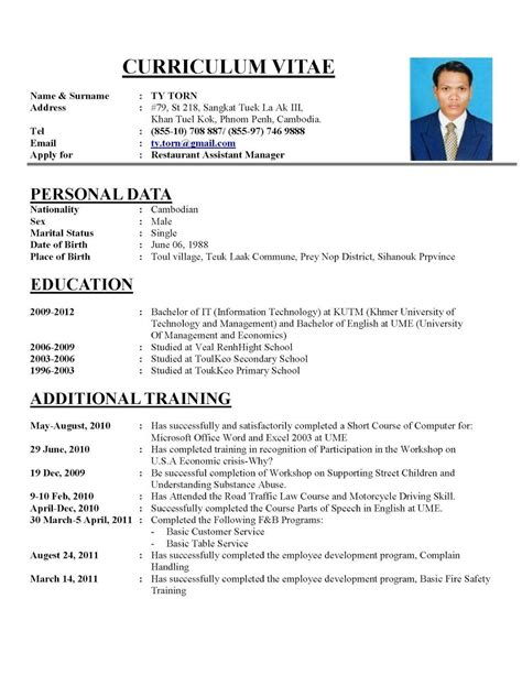 Make New Resume by How To Write Cv Resume Resume Cv Sle Cv Resume Sle