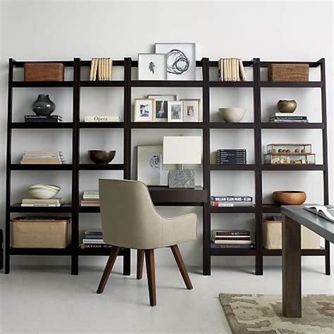 crate and barrel leaning bookshelf desk sawyer mocha leaning 24 5 quot bookcase crate and barrel