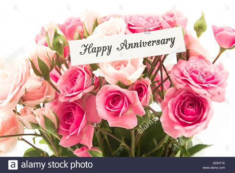 happy anniversary card  bouquet  pink roses stock