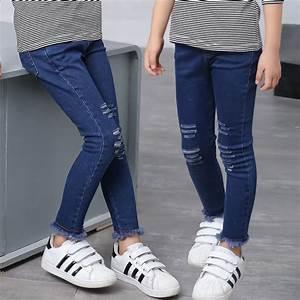 Aliexpress.com  Buy Kids Girls Jeans Pants 2017 Spring Girls Pants Slim Style Girl Ripped Jeans ...