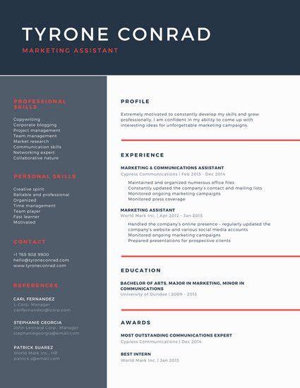 dark blue  red corporate resume templates  canva