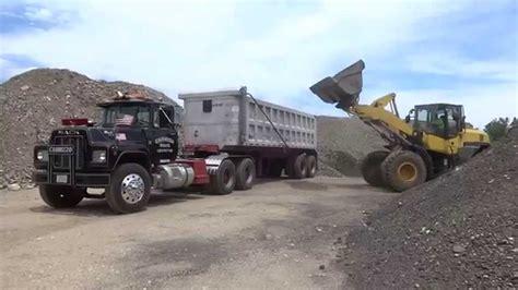 mack dump truck loading an r model mack dump truck youtube dump trucks