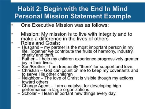 Resume 7 Habits by How To Write Mission Statements