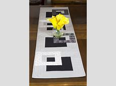 Modern Quilted Table Runner, Black White and Grey