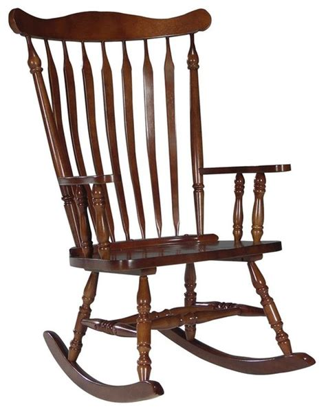 solid wood high back rocking chair in cherry traditional