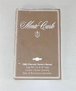 Owner U0026 39 S Manual  Operating Instructions Chevrolet Monte