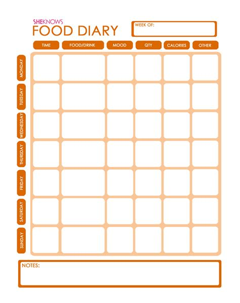 free food journal template free printable food diary template