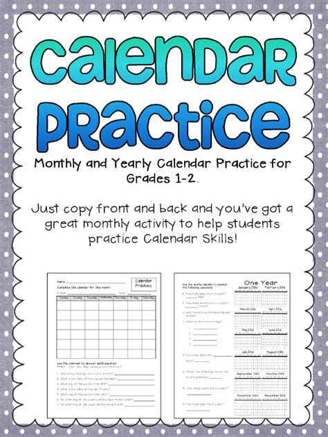 the best of teacher entrepreneurs free math lesson monthly calendar practice printables