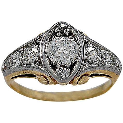 gold deco engagement rings deco 60 carat two color gold engagement ring