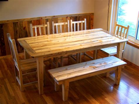 beetle kill pine dining set table chairs bench by