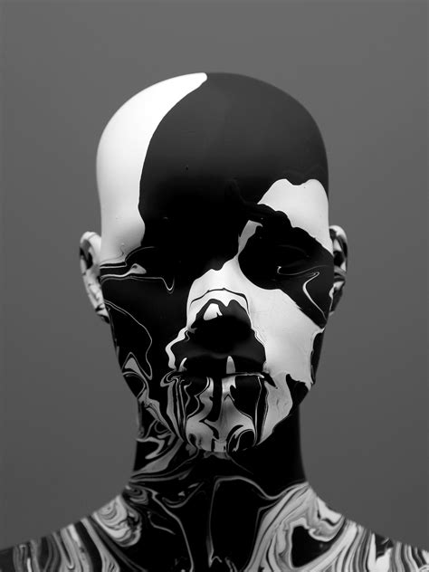 Abstract Black And White Portrait by Black White Monochrome Artwork And Portraits