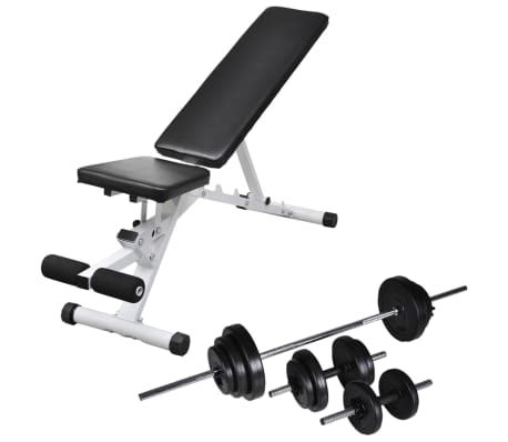 Barbell And Bench Set by Vidaxl Workout Bench With Barbell And Dumbbell Set 30 5 Kg