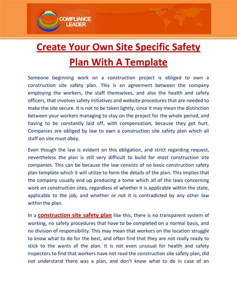 Site Specific Safety Plan Template Construction by Construction Site Safety Plan Template Pictures To Pin On
