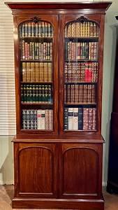 Victorian, Mahogany, Library, Bookcase, -, Antique, Bookcases