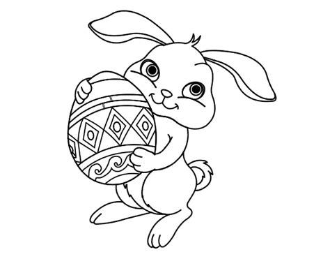 Dibujo De Conejo Con Huevo De Pascua Para Colorear