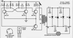 Simple Electric Shock Gun Wiring Diagram Schematic