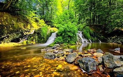 Waterfall Stones Forest Cascata Desktop Alta Pietre