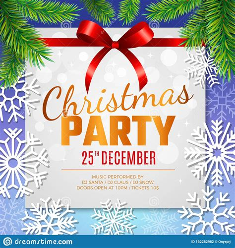 Christmas Party Card Invitation Template With Decorative
