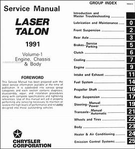 1991 Plymouth Laser And Eagle Talon Repair Shop Manual