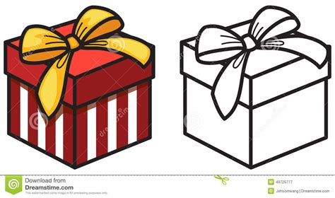 Colorful And Black And White Gift Box For Coloring Book