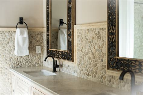 java pebble tile high end bathroom backsplash and