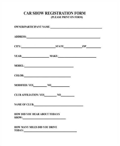 7+ Car Registration Form Samples