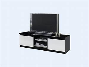 Meuble Laqué Noir : meuble tv laqu noir et blanc ~ Premium-room.com Idées de Décoration