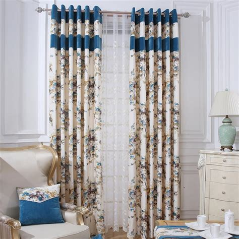 beige  blue floral thermal noise reducing curtains