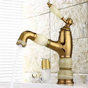 Unique, Bathroom, Faucets, Polished, Brass, Single, Handle, Gold, Marble