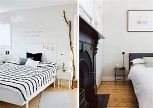 une chambre en noir et blanc joli place With tapis jonc de mer avec canapé blanc et bois