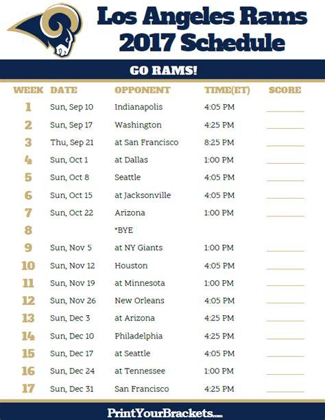 los angeles rams football schedule printable nfl