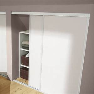 lot de 2 portes de placard coulissante blanc l120 x h120 With guide porte placard coulissante