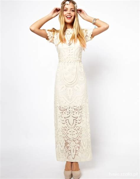 asos 38 koronka maxi ecri sukienka hippie w suknie i sukienki szafa pl