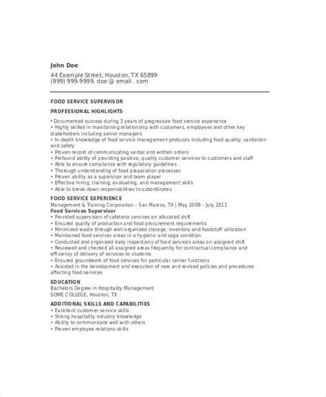 Food Service Resume Template by 6 Food Service Resume Templates Pdf Doc Free